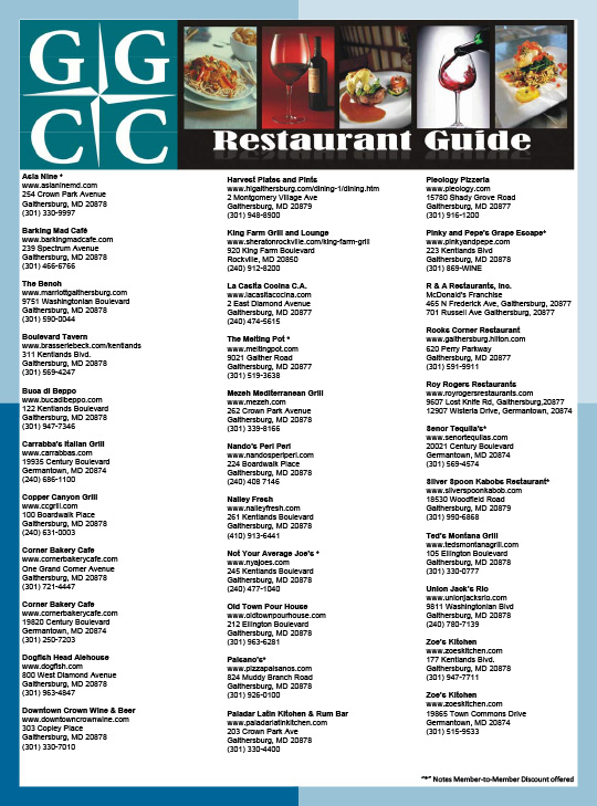 2016 Restaurant Guide for Montgomery County MD Through Chamber of Commerce