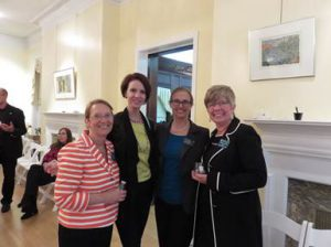 (l:r) Marilyn Balcombe, GGCC President; Anita Anderson, Maryland Leadership Workshops; Paula Ross, Metropolitan Ballet Theatre and Academy and Barbara Crews, Johns Hopkins University Montgomery County Campus at the GGCC 12th Annual Wine Tasting held at the Kentlands Mansion on May 21, 2015.