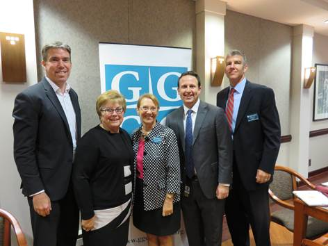 (l:r) Shane Robinson, State Delegate- District 39; Nancy King, State Senator - District 39; Marilyn Balcombe, GGCC President/CEO; Jonathan Sachs, Director of Public Policy, Adventist HealthCare and Adam Cox, Senior Manager - Facilities ,Hughes Network Systems at the Gaithersburg-Germantown Chamber of Commerce 10th Annual Upcounty Business Breakfast Briefing held at Hughes Network Systems on Wednesday, September 30, 2015.  (Photo Credit: Laura Rowles, GGCC Director of Events & Marketing)