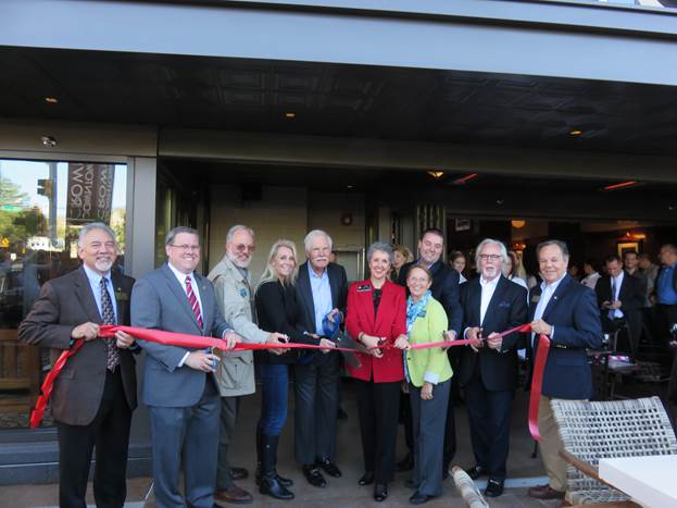 (l:r) Mike Sesma, City of Gaithersburg Councilmember;  Jud Ashman, City of Gaithersburg Mayor; Jerry Therrien, President, Therrien Waddell, Inc. & GGCC Board Chair; Kristi Martin, President and COO, Ted's Montana Grill; Ted Turner, Ted's Montana Grill Co-Founder, Cheryl Kagan, State Senator - District 17; Marilyn Balcombe, GGCC President; Paul Thompson, Ted's Montana Grill Proprietor; George McKerrow, Ted's Montana Grill Co-Founder and Henry Marraffa, City of Gaithersburg Councilmember at the Grand Opening / Ribbon Cutting Ceremony of Ted's Montana Grill in Downtown Crown Gaithersburg held on Monday, October 5, 2015.  (photo credit: Laura Rowles, GGCC Director of Events & Marketing)