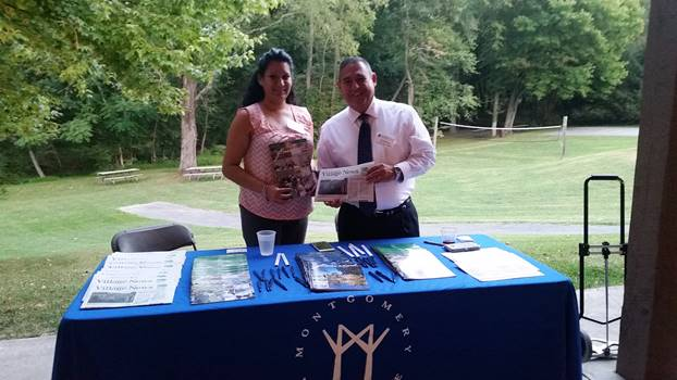 Charity Gutierrez & Humberto Benitez represented the Montgomery Village Foundation in the non-profit showcase at the 2016 Gaithersburg-Germantown Chamber Membership Picnic. (photo credit: Laura Rowles, GGCC Director of Marketing)