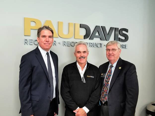 (l:r) Tom Plant, Managing Partner, Paul Davis Restoration and Remodeling.; Shane Robinson, State Delegate - District 39; and Charles Barkley, State Delegate - District 39; at the Paul Davis Restoration and Remodeling ribbon cutting celebration. Paul Davis emergency services covers just about any type of damage that can hit your home or business. (photo credit: Laura Rowles, GGCC Director of Events & Marketing)